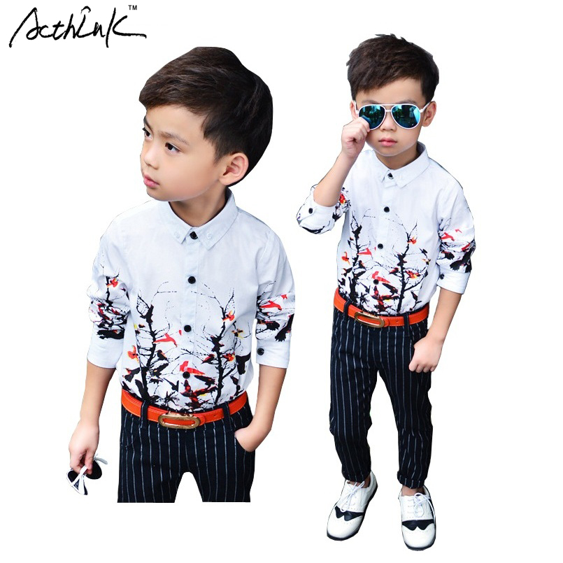 ActhInK New 2018 Kids Branch Pattern Floral Dress Shirts for Boys Brand Top Quality Children Spring Formal Wedding Shirts, C153
