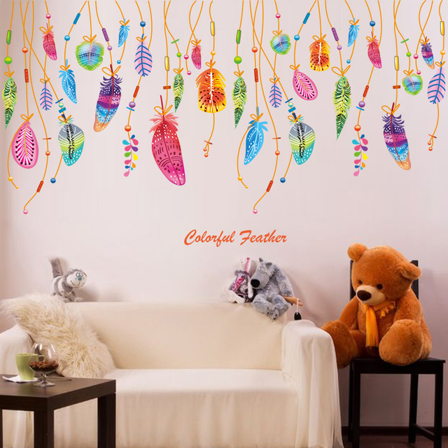[SHIJUEHEZI] Colorful Feathers Wall Stickers Vinyl Material Mural Art For  Kids Rooms Kindergarten Decoration