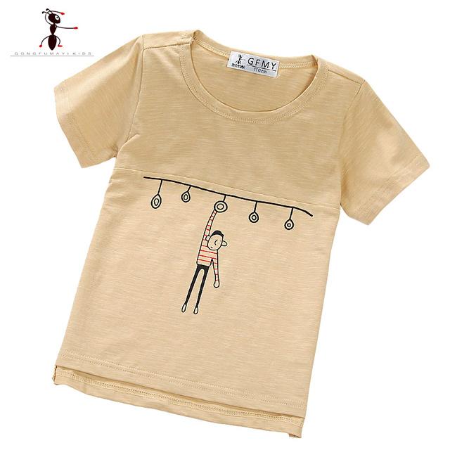 Crianças Da Moda O-pescoço De Algodão Cáqui Cinza Azul de Alta Qualidade de Verão 3-11 Anos de Idade Roupas Infantis Menino