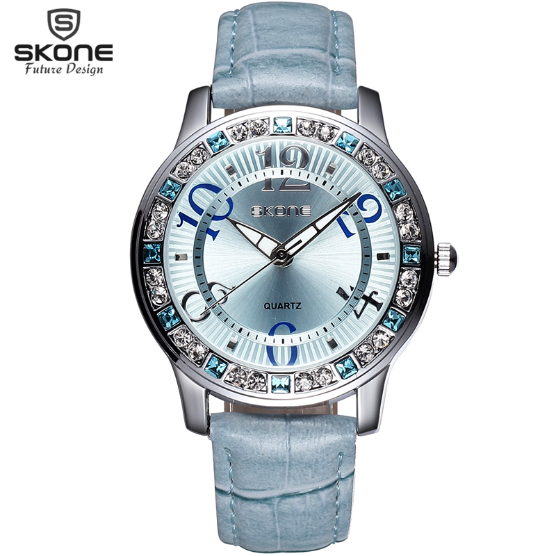 Watch Women SKONE Brand Luxury Fashion Casual Quartz Watches Leather Sport Lady Relojes Mujer Women Wristwatch Girl Dress Clock 2017 luxury brand watch fashion rose gold girl watches women fashion casual quartz ladies wristwatch reloj mujer clock relojes