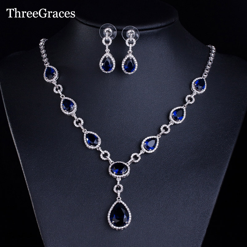 ThreeGraces Luxury Royal Blue Cubic Zirconia Big Water Drop Necklace And Earrings Sets For Women Patry Jewelry JS015 a suit of gorgeous water drop alloy necklace and earrings jewelry for women