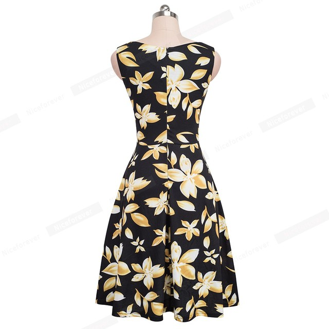 Nice-forever Vintage Elegant Flowery Pleated Summer vestidos A-Line Pinup Business Party Woman Flare Swing Dress btyA095