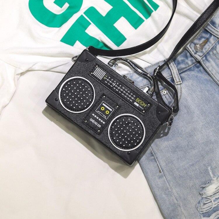 Shoulder Borsa Bag Il Crossbody Delle Roccia Personalità Nero Retro Sveglie Forma Signore Radio Messenger Uqn0wt
