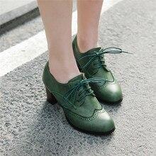 YMECHIC 2019 otoño verano Vintage negro verde gris Brogues de encaje para mujeres tacones altos bombas Roma Retro zapatos de tacón de bloque de talla grande