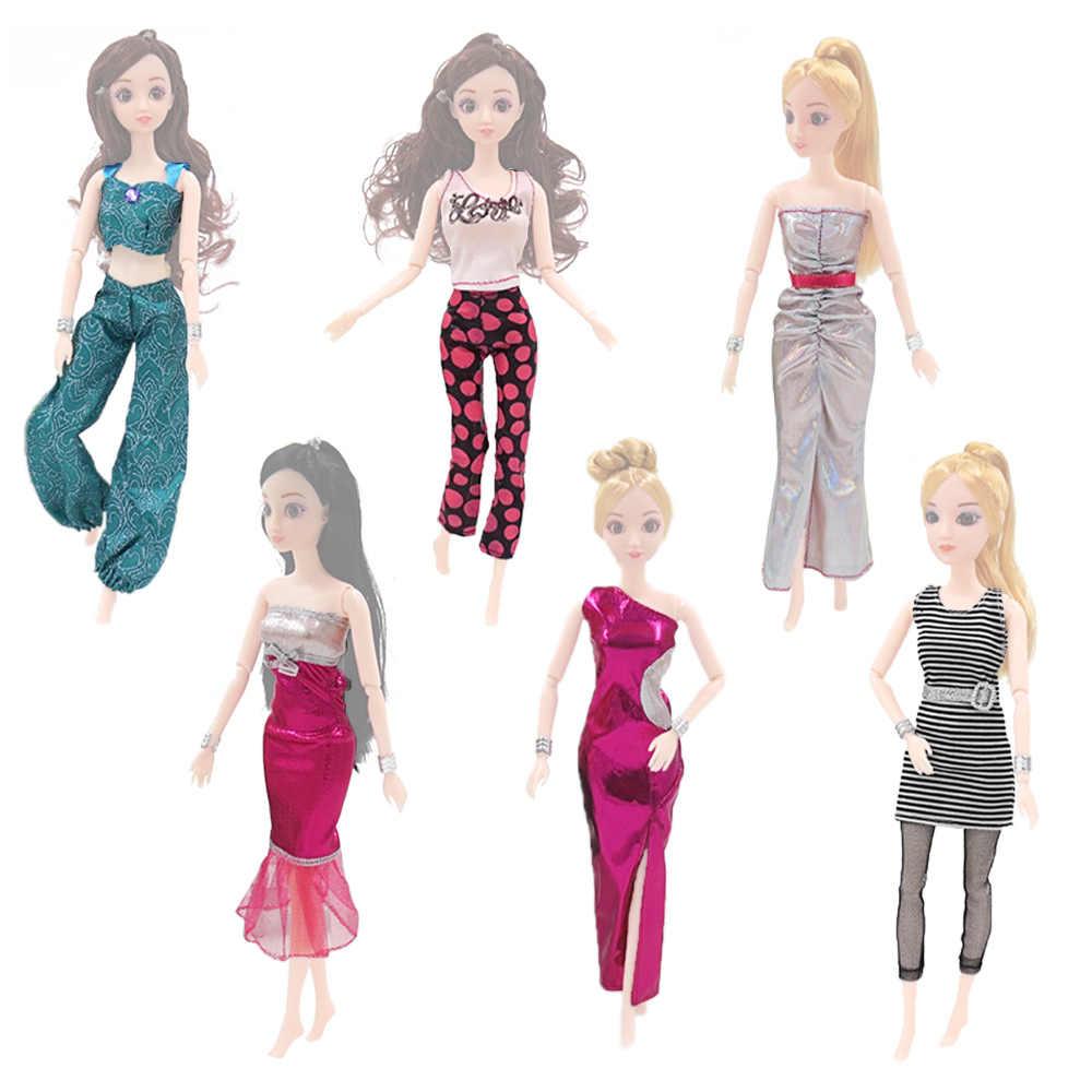 6 define Moda Mini Menina Boneca Calças Tops Blusa Longa Fishtail Vestidos Vestido Roupas Roupas Acessórios para Barbie Brinquedo