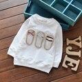 Del Niño Del bebé Niños de Algodón Bordado Carácter Sudaderas O-cuello de las Camisetas de Manga Larga Para 70-110 cm de Altura Niños B005
