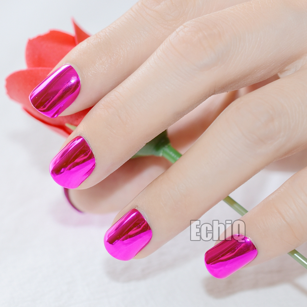 Shiny metallic artificial nail tips dark rose red short full cover not includes any glue you need to prepare glue by yourself solutioingenieria Images