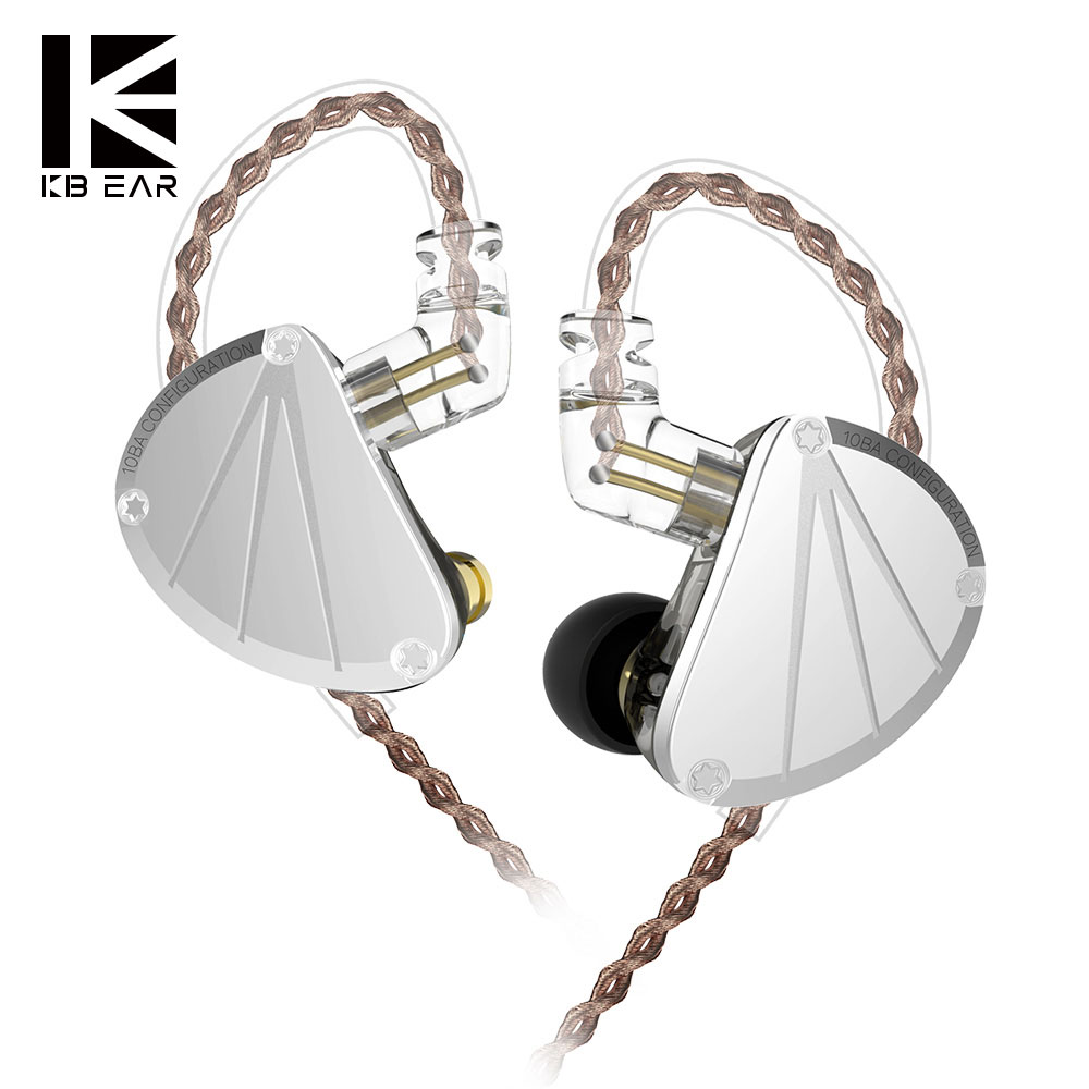 KBEAR KB10 Headphones 5 Balanced Armature Driver In Ear Earphone HIFI Bass Monitor Earphone Earbuds 2PIN