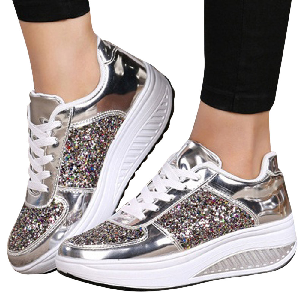 ISHOWTIENDA Sneakers Woman Sports Shoes Lace-Up Rubber WedgesSneakers Sequins Shake Shoes Fashion Girls Sport Shoes Woman 2018 fashion woman trainers 2017