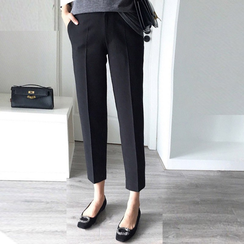 Casual Black OL Women Ankle-Length Trousers High Waist Sloid Straight Pants Fashion Female Quality Trousers