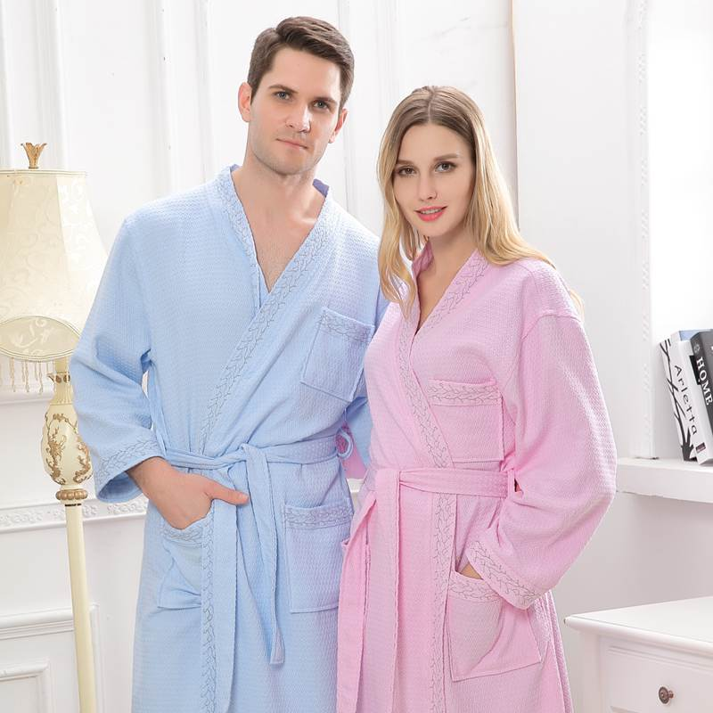 Waffle cotton bathrobes women night robes long kimono robe home dressing gown long sleeve pink wedding robes white blue