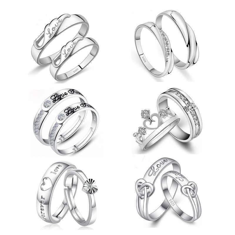 1 Set Verkoop Verstelbare Liefhebbers Zirkoon Engagement Rings Voor Vrouwen Zilver Kleur Trouwringen Oostenrijkse Kristallen Sieraden T01