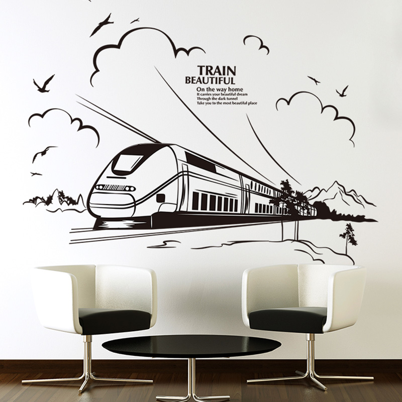 buy shijuehezi customized train wall sticker pvc material handmade wall decals for living room office restaurant mural art from reliable