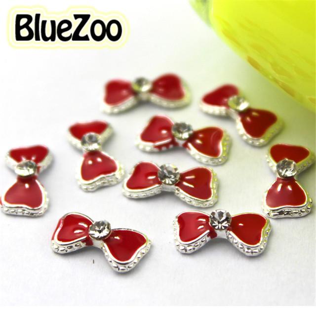 BlueZoo Atacado 100 unidades/pacote Red 3d Liga Bow Tie Pedrinhas Art Nail DIY Decoração Glitters Fatias 11mm * 6mm Frete Grátis