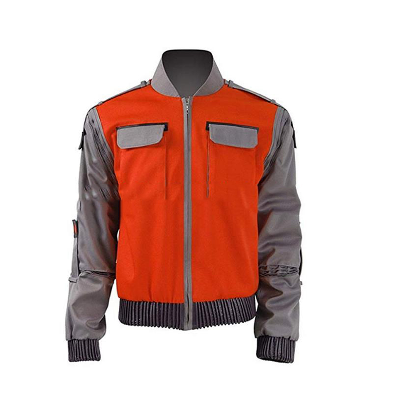 Movie Back To The Future Cosplay Jacket Jr Marlene Seamus Marty McFly Costume Orange Coat Outwear Men Halloween Carnival Outfit
