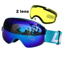 Anti-fog Okulary Narciarskie Gogle UV400 Double Lens Śniegu Narty Snowboard Gogle Narciarskie Okulary Z Noktowizor Obiektyw