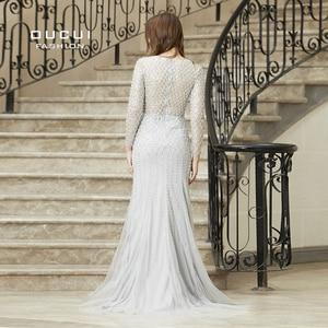 Image 2 - Real Photos Crystal Mermaid Long Sleeve Hand Made Illusion Full  Beading Long Evening Dress Close Back Luxury  OL103064B