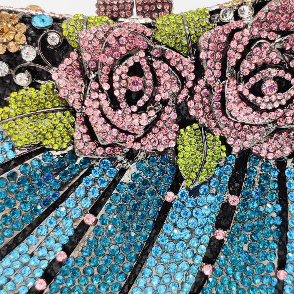 Boutique De FGG Đa Hoa Hoa Hồng Nữ Mini Pha Lê Tối Minaudiere Túi Kim Loại Hardcase Tiệc Cưới Túi Cầm Tay Clutch Ví