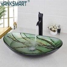 YANKSMART Verde Oval de Cristal Baño Buque Fregadero de la Vanidad Cuenca Baño Lavabo Mezclador de Lavabo de Latón Grifo ORBE Negro Conjunto de Drenaje