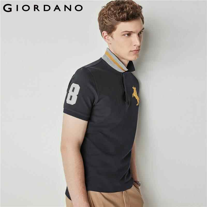 960d04299166 ... Giordano Men Pique Polo Napoleon Embroidery Polo Shirt Men Brand Man s  Clothing Polos Shirt For Men ...