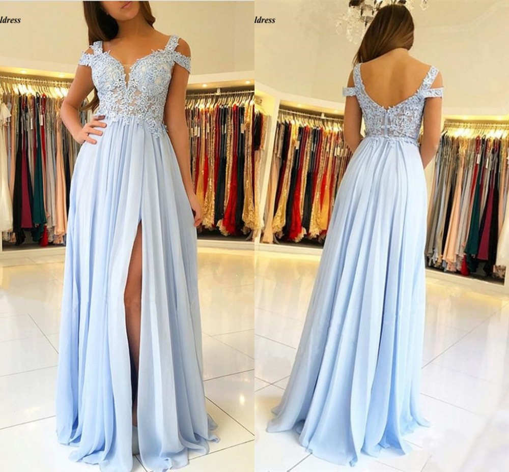 Sky Blue 2019   Prom     Dresses   Long Appliques Side Split Sheer Top A-Line Chiffon Sexy Wedding Guest Party Gowns Formal   Dress   Cheap