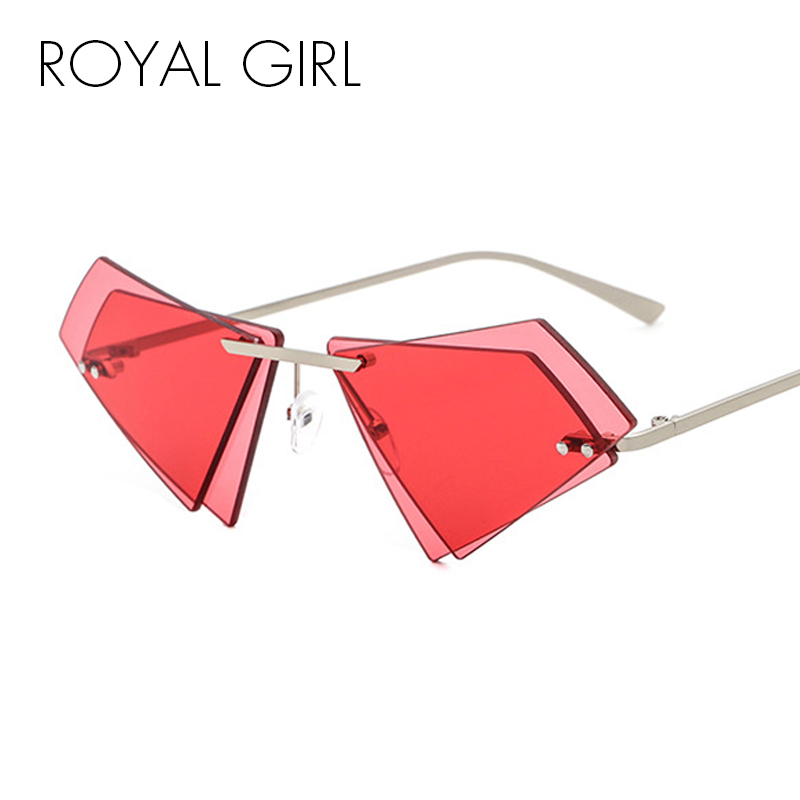 ROYAL GIRL Unique Rimless Sunglasses Women Men Small Triangle Red Yellow Pink Sun Glasses Candy Colors Double Lens Shades ss005
