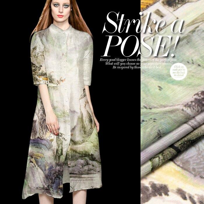 2016 nouvelle tendance grande marque Europe lin robe chemise manteau soie lin soie tissu Chushuiwushan impression numérique