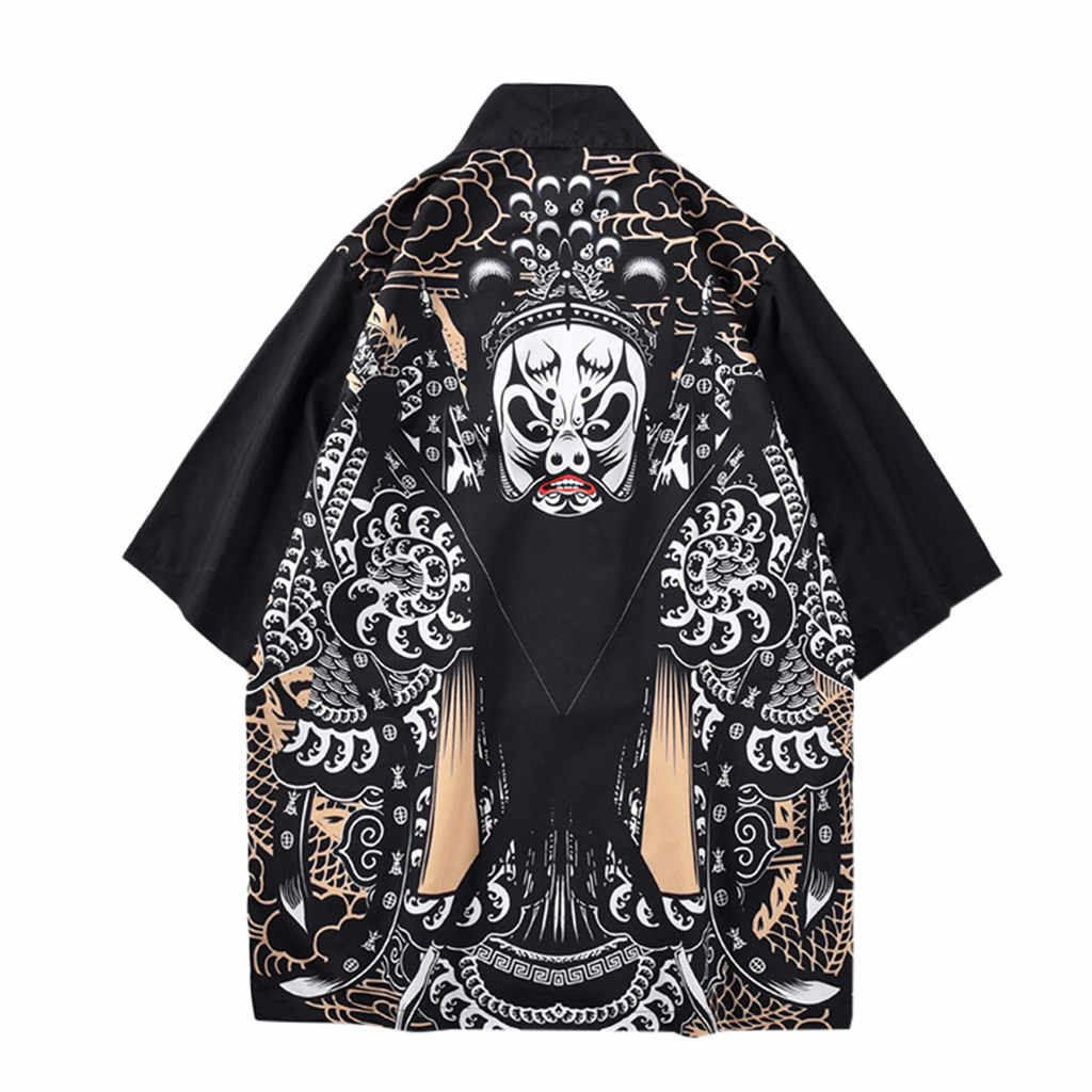 Men Jacket Harajuku Kimono Cardigan Coat Casual Spring Clothing Lovers Tops Individuality Print Blouse For Male outwear 2016