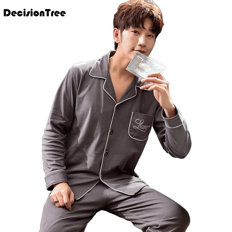 2020 long sleeve men's cartoon pajama sets thick men sleepwear sleep &lounge pajamas clothing
