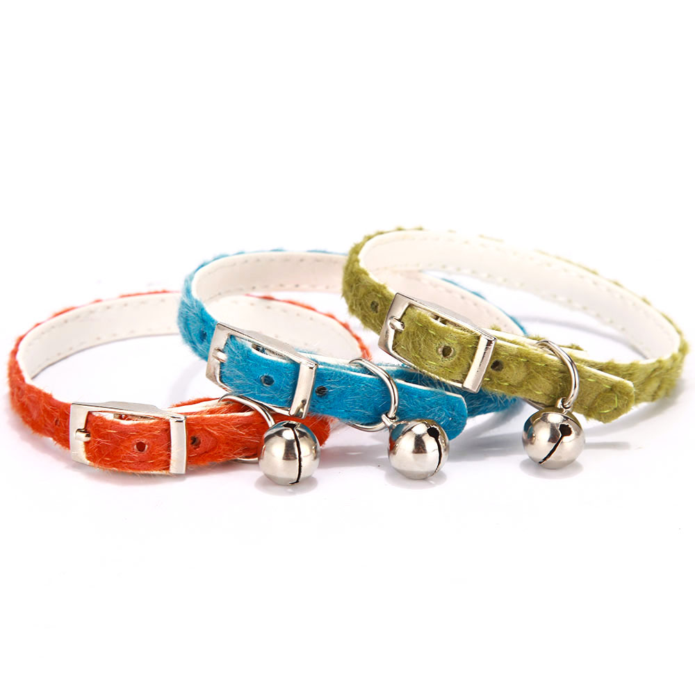 Cat Collar With Bell Dog Collar For Cats Solid Flocking Collars For Cats Kittens Puppy Rhinestone Pearl Cat Collars Pet Supplies (3)