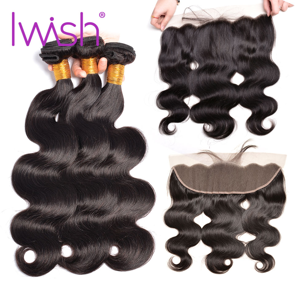Iwish Peruvian Body Wave 3 Bundles With Frontal Closure 100% Human Hair 4*13 Lace Closure With Bundles Non-Remy Hair Extension