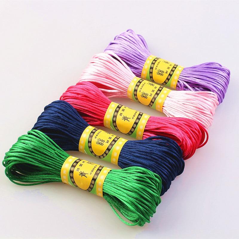 20M 1.5mm Satin Nylon Trim Cord, Rattail Cord Chinese Knot