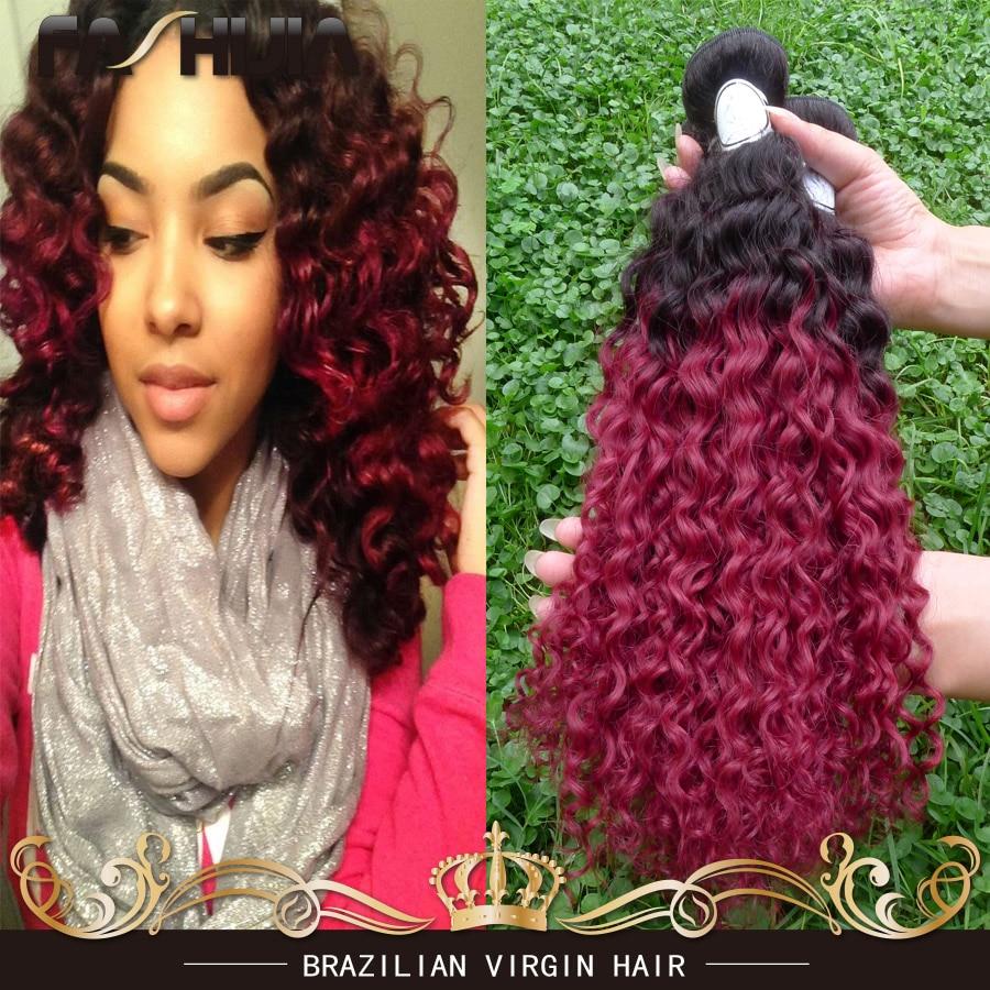 Brazilian Kinky Curly Hair Burgundy Ombre Hair 1b Bg Red Two Tone 3