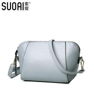 Image 2 - SUOAI 2020 yeni yaz stil kadın kabuk çanta moda Pu kadın omuzdan askili çanta kızlar parti postacı çantası