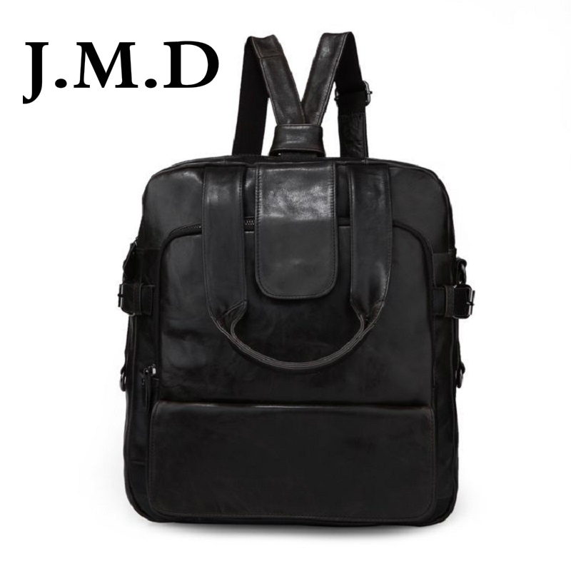 J.M.D 2017 New Arrival 100% Classic Leather Travel Bags Cowboy Genuine Leather Men's Trendy Backpacks Shoulder Bag  7065 new arrival 100% excellent genuine leather laptop backpacks 7202i 1