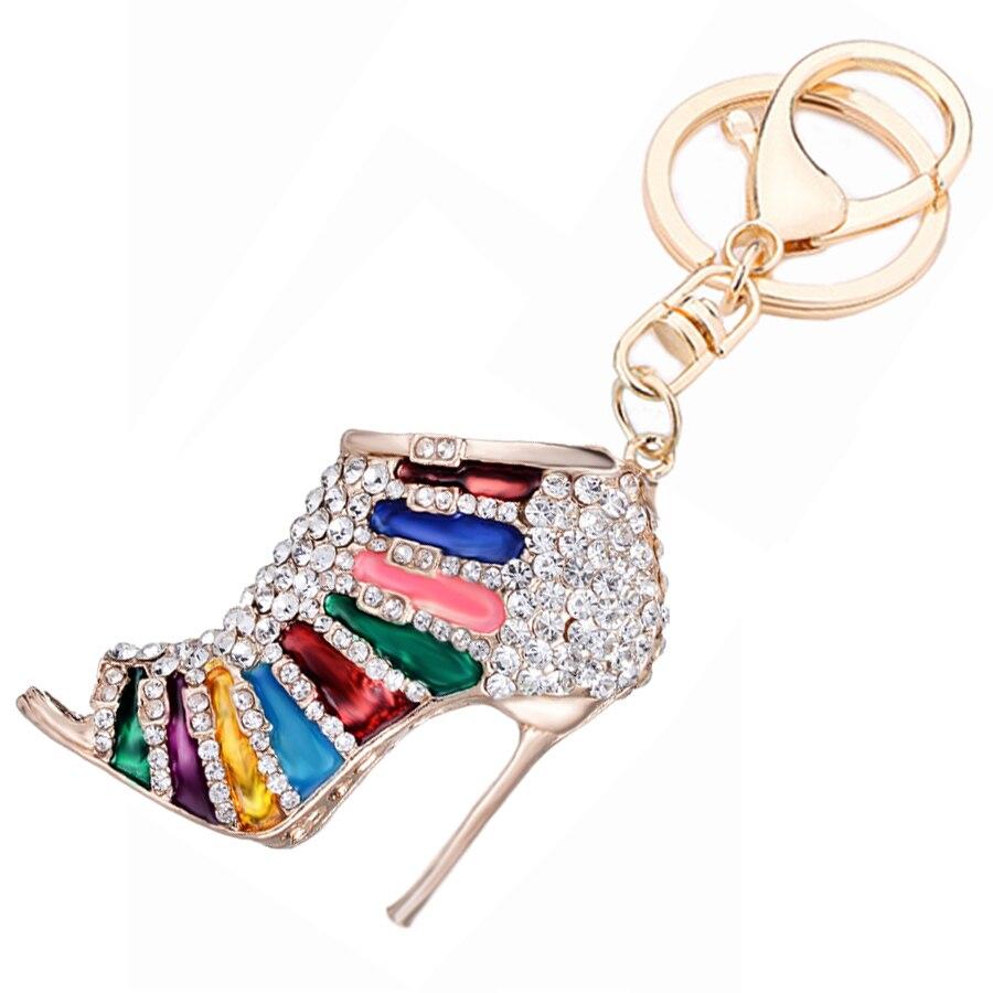 Новинка для девочек мешок подарков украшения Модные на высоком каблуке автомобильный брелок со стразами обувь для ключей очарование Для же...