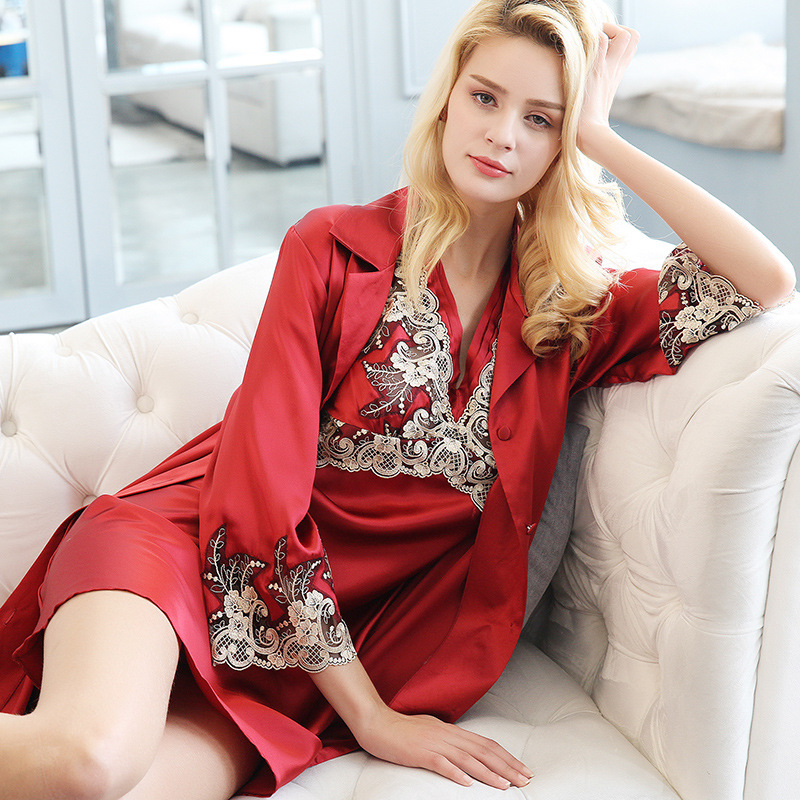 P9942 Silk pajamas Suspenders +robe two-piece Housewear sexy lace spring and autumn Women 100% Silk Nightgown Suit image