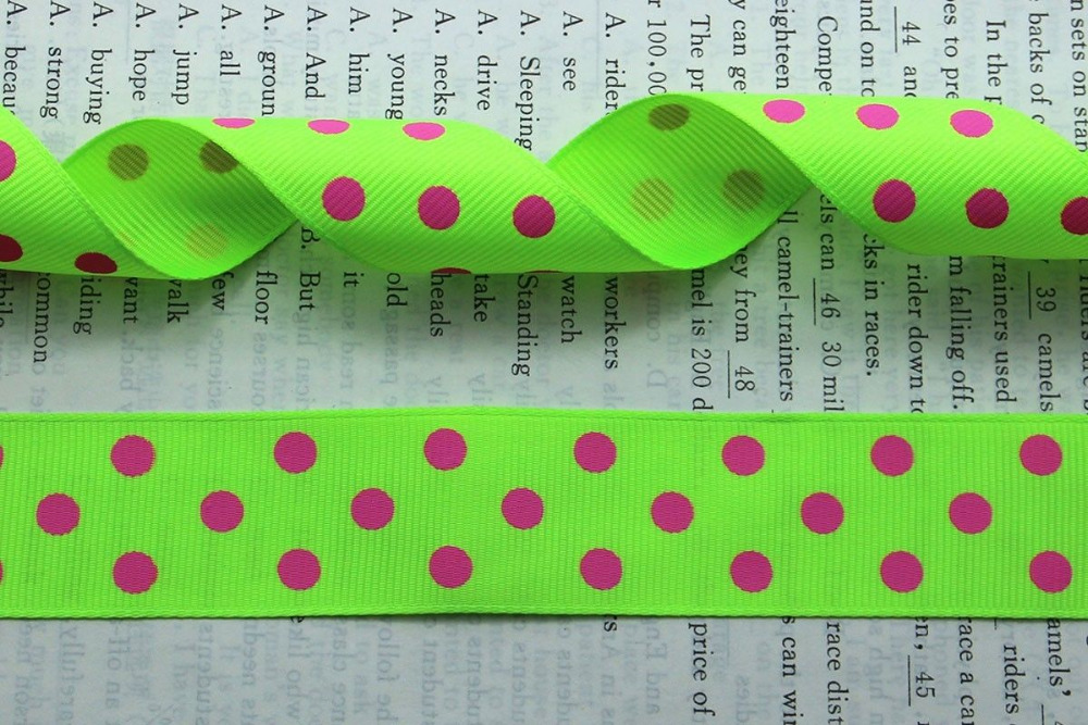 Free shipping 1(25mm) Grosgrain ribbon Polka Dots printed fruit-green ribbon with white dots, hairbow accessories, gift package