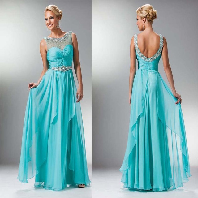 Hot Latest Style Floor Length Long Scoop Tank Beaded Chiffon Blue Prom  Dresses Party Gown A-Line Crystals Long Sexy Prom Dresses 92f584a7e390