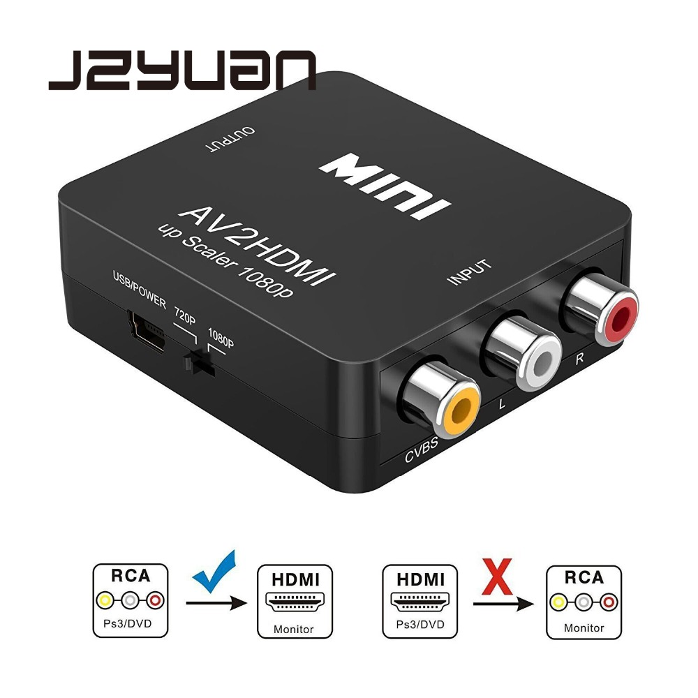 JZYuan Mini AV to HDMI Video Converter Box AV2HDMI RCA AV HDMI CVBS to HDMI Adapter for HDTV TV PS3 PS4 PC DVD XBox Projector hdmi to hdmi and cvbs video converter av adapter support ntsc and pal two tv formats for xbox 360 ps3 hd players set top box dvd