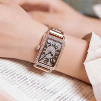 Top Brand Ladies Watch Women 2018 Fashion Rose Gold Quartz Dress Watch Rhinestone Square Casual Women Watches Clock reloj mujer