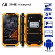 Original A9 IP68 MTK6582 Quad Core 1 GB RAM 8 GB ROM Robusta a prueba de agua A Prueba de Polvo 3G WCDMA Android 4.4 Smartphone A8 X8 V9 V8 X6