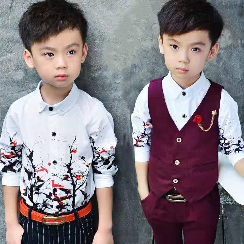 Kids Clothes Autumn Baby Boy Clothes Sets Vest +Long Sleeve T-shirt +Pants 3Pcs Formal Children Clothing Boys Outfits 18M-8 Yrs