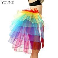 Women Nylon Sexy Petticoat Skirt Rainbow Lace Patchwork Empire Waist Asymmetrical Tulle Mini Skirt Evening Dance Party 200 A762