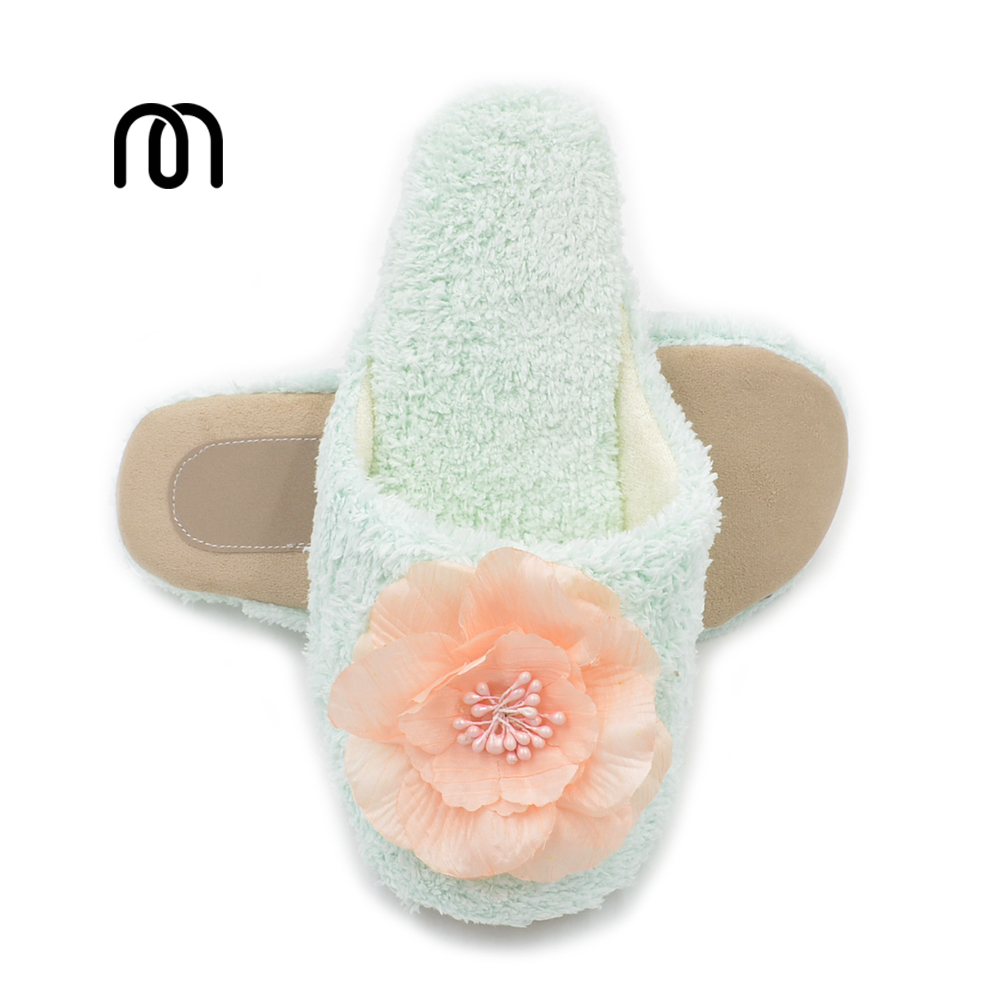 Millffy coral velvet cozy slippers ladies bedroom massage floor mute soles pretty flowers princess girl silent slippers pepe jeans