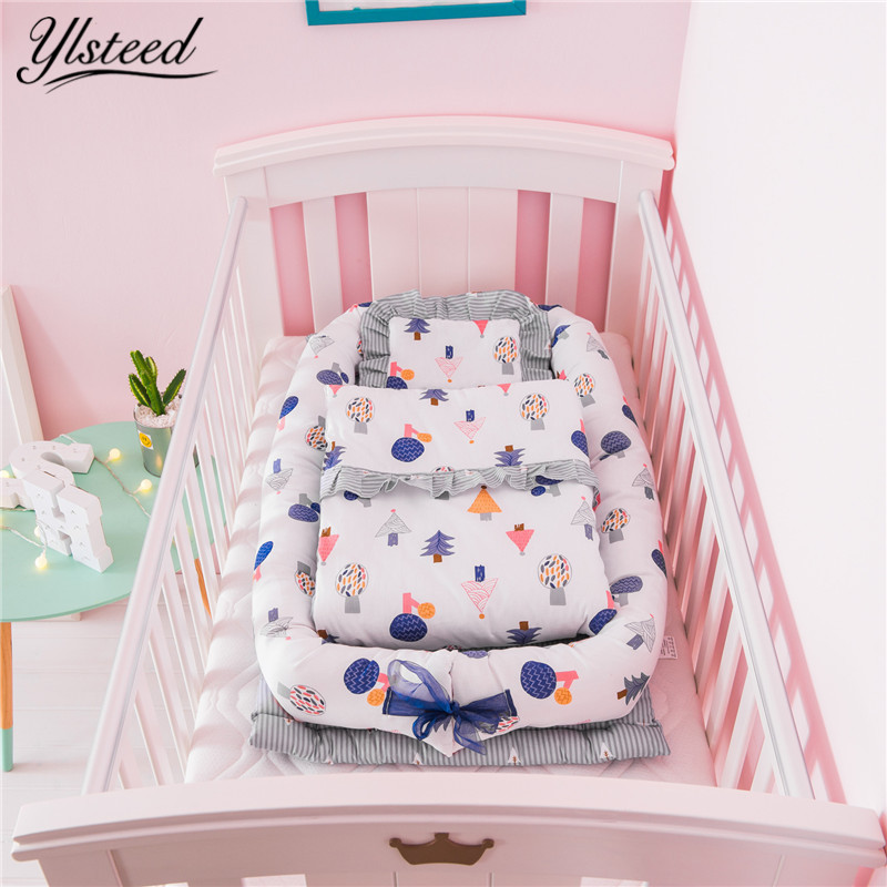 Pure Cotton Blanket+Pillow+Crib 3pcs Set Portable Baby Crib Quilt Pillow Foldable Baby Bed Beddings Infant Nursery Travel Beds simba organic cotton baby pillow