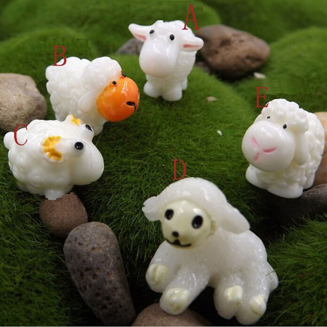 Us 0 99 16 Off Mini Sheep Home Micro Fairy Garden Figurines Miniatures Decor 5pcs In From On