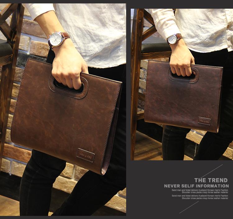 Business Casual Men Leather Designer Handbag High Quality Male Wallet Famous Brand Men's Large Capacity Clutch Bag Brown black 63