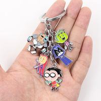 10pcs/lot 4cm Teen Titans Go keychain Metal Pendant Figure toy