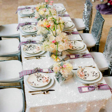 B·Y Tablecloth 90x132in  Sequin Rectangular Embroidered Table Cover Whitefor Wedding Party Christmas Decor -63